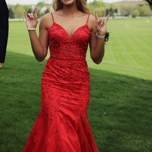 Red mermaid style prom dress